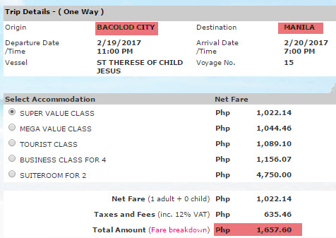2Go Price Bacolod to Manila
