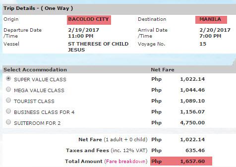 2Go Price Bacolod to Manila
