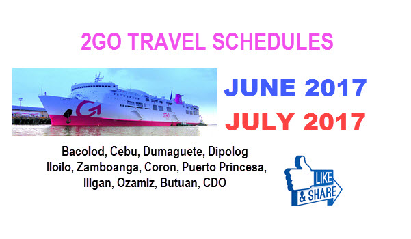 2Go schedule June and July 2017