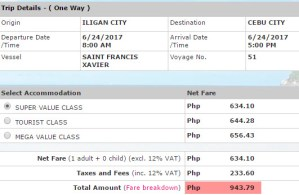 2Go rate Iligan to Cebu