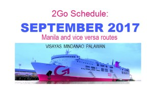 2Go Travel Schedules for September All Routes From Manila and Going to Manila