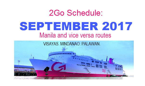 2Go Travel Superferry Schedule for September 2017