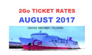 2Go Ticket Prices for August Trip