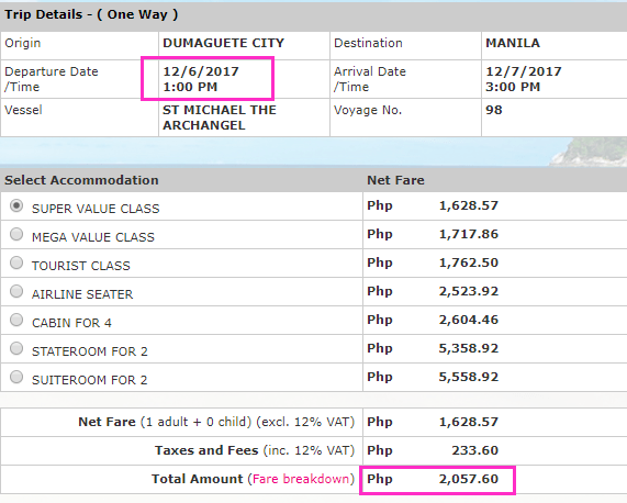 2Go Travel Dumaguete to Manila Ticket Price