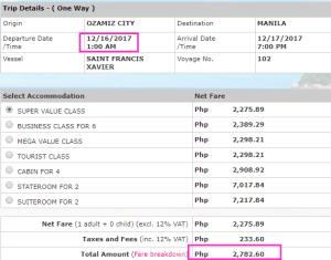 2Go rates Ozamiz City to Manila
