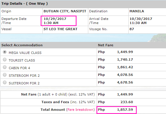 Butuan City to Manila Fare 2Go