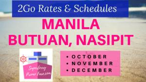 Manila to Butuan City, Nasipit Rates 2Go Superferry