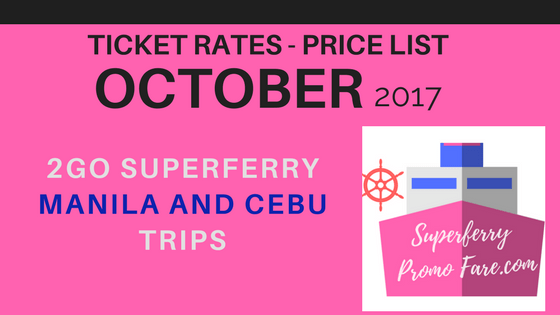 PRICE LIST 2Go Travel October schedules