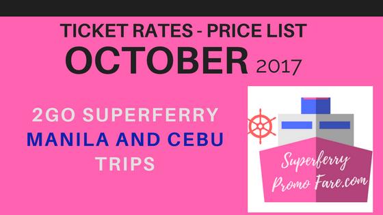 PRICE LIST 2Go Travel October schedules