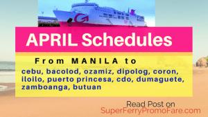 2Go Travel Schedules APRIL 2018