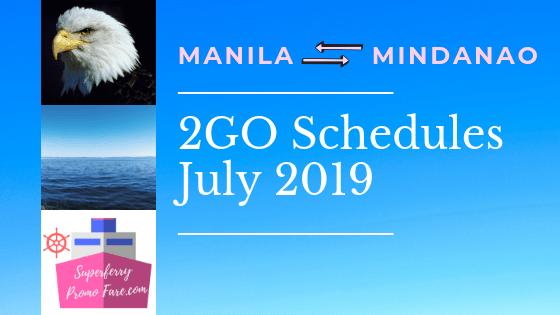 2GO Schedules July 2019 mindanao