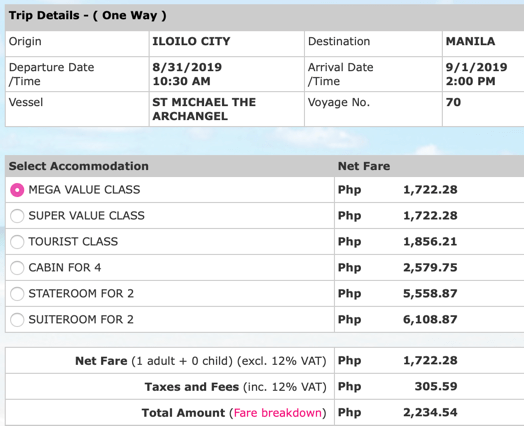 Iloilo to Manila 2Go ticket price