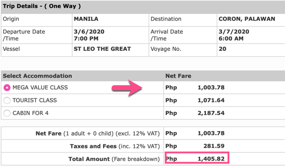 Manila to Coron Fare 2Go March 2020