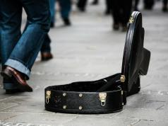 An image of a buskers guitar case