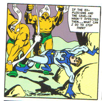 Maskless Ted Kord fights his evil uncle's robots on Pago Island