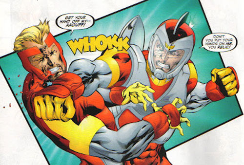 Champ Hazard punching Adam Strange