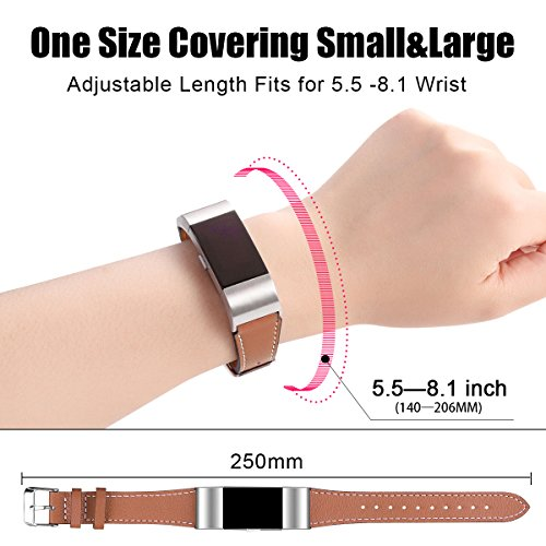 Classic Genuine Leather Wristband Strap Bands Fitbit Charge 2 Replacement Bands