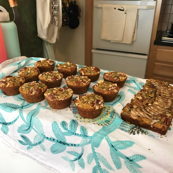 Pumpkin muffins and bread cooling