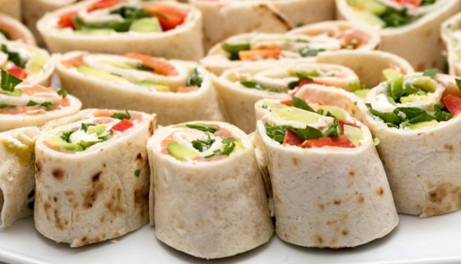 Poached Salmon Tortilla Roll Ups