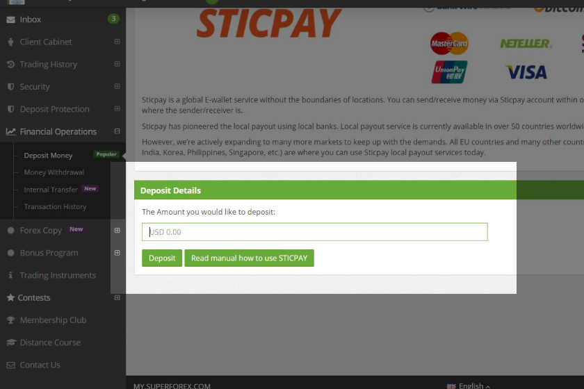 superforex-how-to-make-a-deposit-sticpay-online-wallet-amount