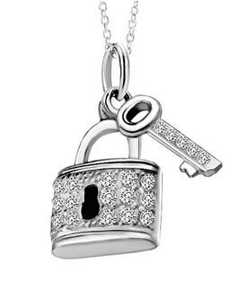Silver Bag Key Crystal Dotted Pendant Necklace In Sterling Silver $66.20