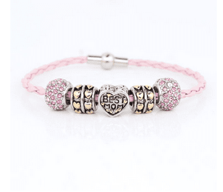 Pink Crystal Silver Plated Best Mom Leather Beaded Bracelet