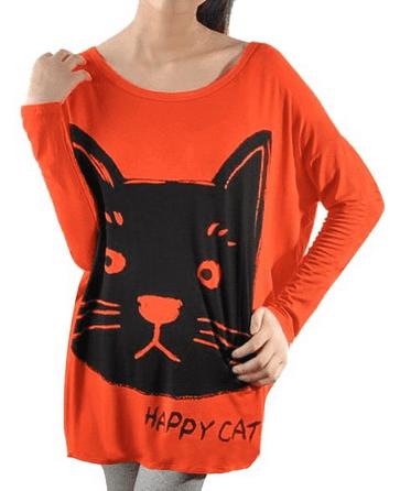 Long Batwing Sleeve Cartoon Cat Shirt