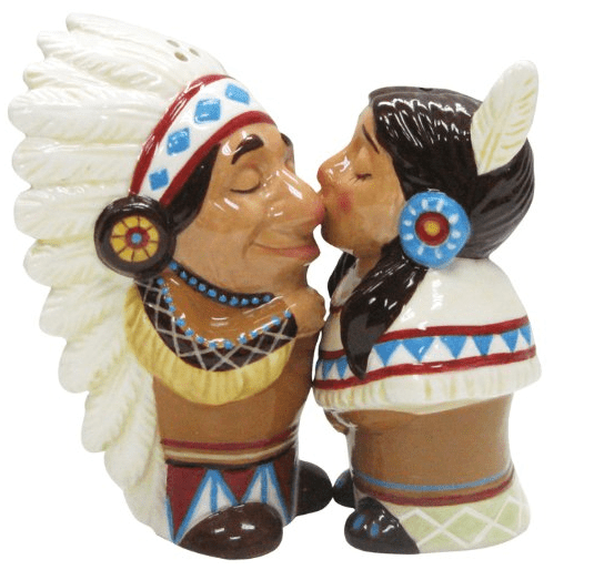 Native American Couple Salt and Pepper Shaker Set 3 1 2 Inch Kitchen Dining