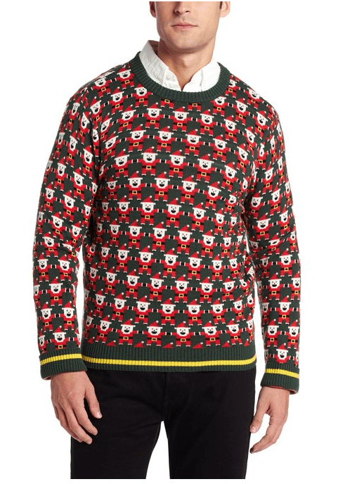 Alex Stevens Men s 8 Bit Santa Ugly Christmas Sweater