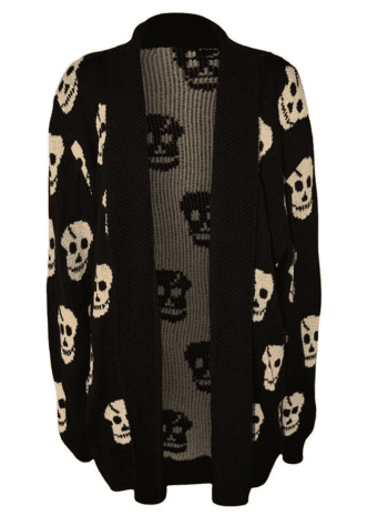 Womens Plus Size Skull Long Sleeve Knitted Cardigan at Amazon Women's Clothing store Cardigan Sweaters