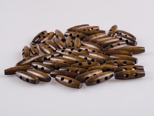Guzik drewniany Beczka 2 dziurki do płaszcza, kurtki brąz