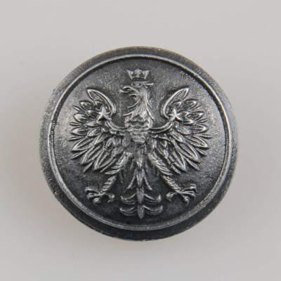 Policyjny guzik współczesny z orłem kolor stare srebro śr. 25 mm
