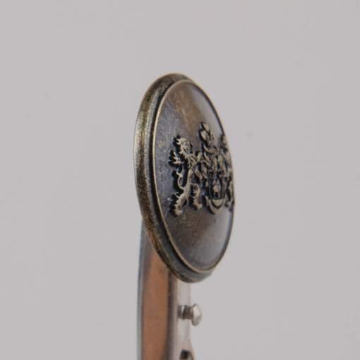 Guzik z herbem i dwoma lwami kolor stara miedź śr. 25 mm