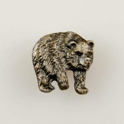 Niedźwiedź znaczek myśliwski na pin/ szpilkę kolor stary mosiądz