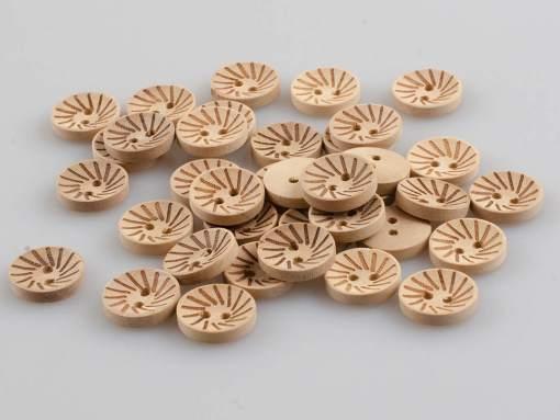 Guzik drewniany 2 dziurki, wypalany wzór 15 mm DIY