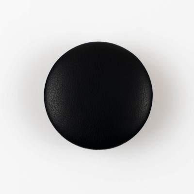 Guzik czarny obciągany skórą cielęcą 38 mm