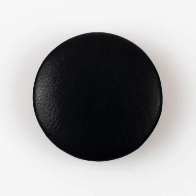 Guzik czarny obciągany skórą cielęcą 44 mm