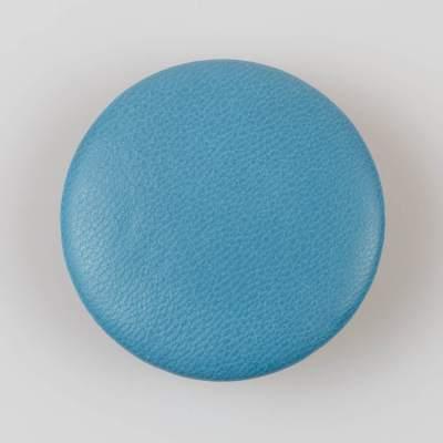 Guzik niebieski obciągany skórą cielęcą 50 mm
