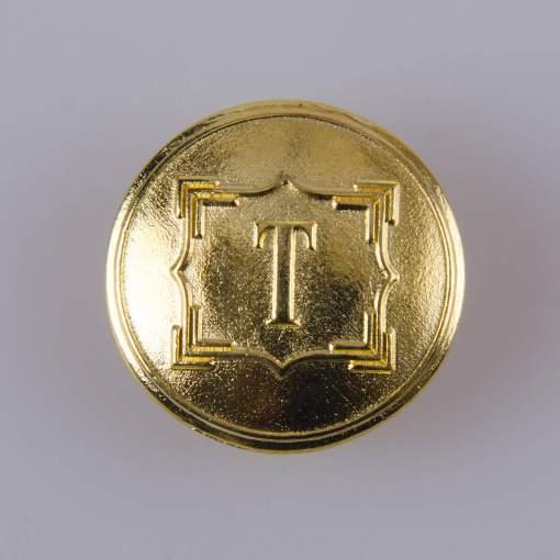 """Guzik ozdobny z literką """"T"""", ogólnego zastosowania o średnicy 22 mm, kolor złoty."""