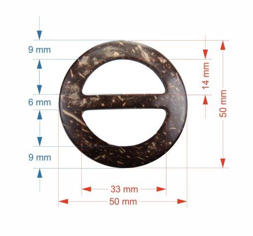 Wymiary klamry kokosowej 50 mm