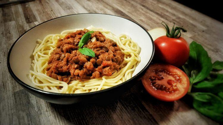 Vegan Lentil Spaghetti Bolognese