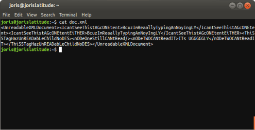Screenshot Unformatted XML on terminal