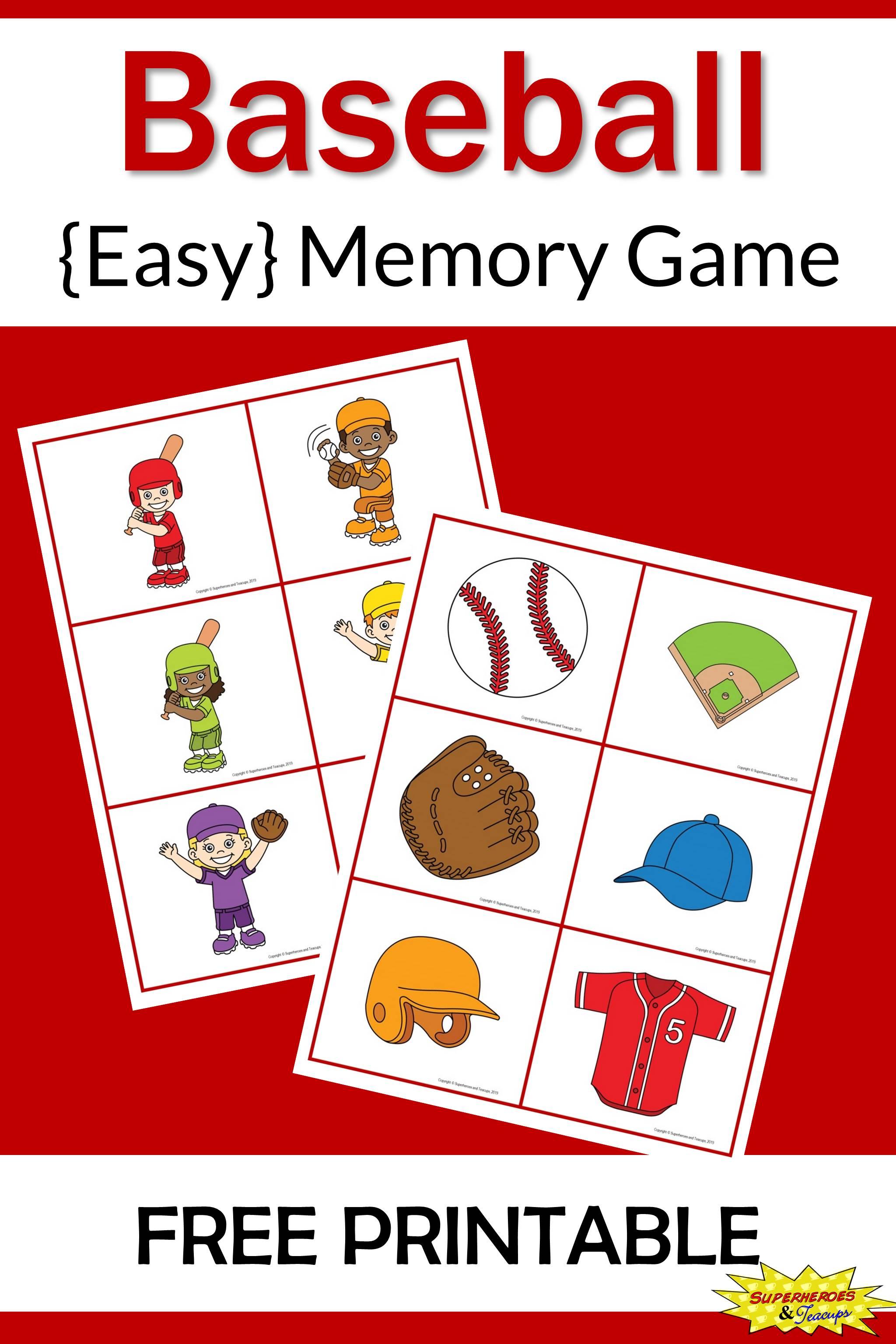 Baseball Memory Game Free Printable For Kids