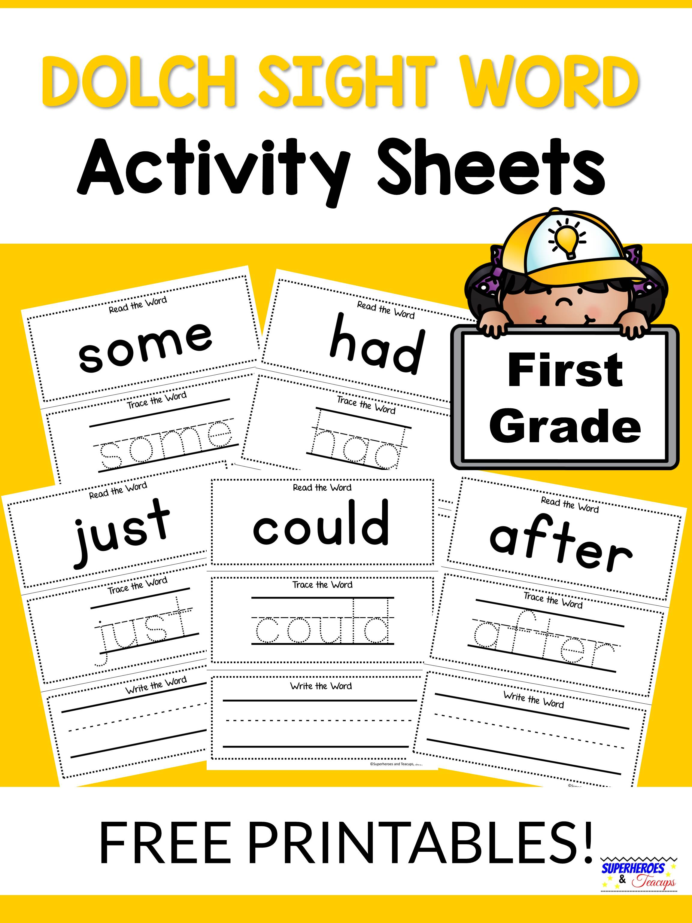 First Grade Dolch Sight Word Activity Sheets