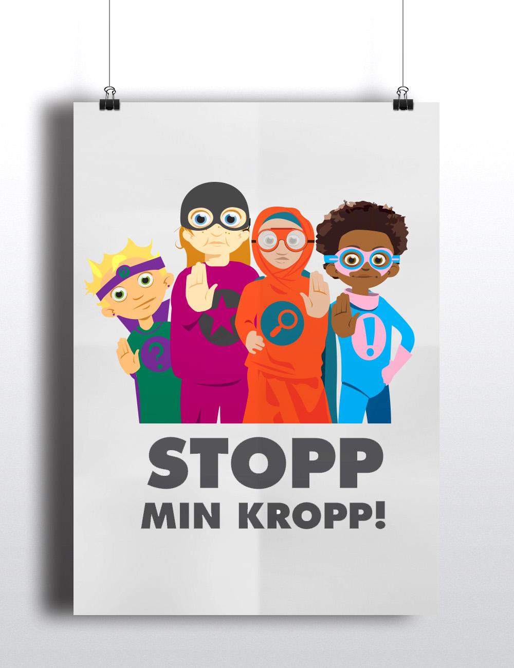Affisch av stop min kropp med superhjälparna