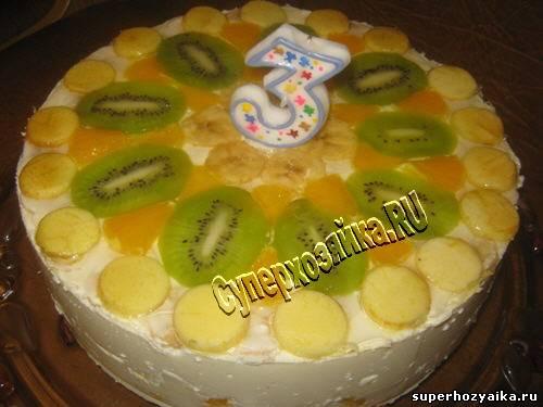 Бисквитный торт с фруктами. Детские торты. Торт из творога ...