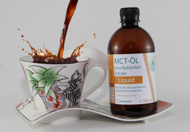 VITARAGNA® MCT Öl und Ghee Extrakt als gebrauchsfertige All-In-One Lösung, laktosefrei, Butterfett Extract, Caprylsäure C-8, Caprinsäure C-10, 500 ml MCT-Oil, PET1 Flasche