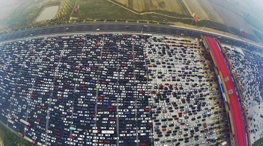Pekin'deki trafikten kuşbakışı bir görünüş