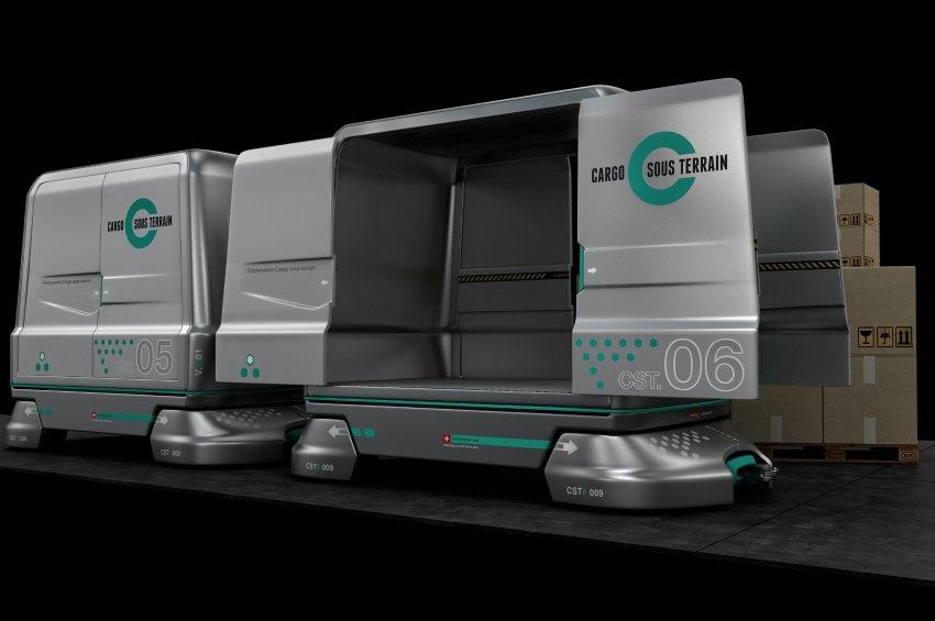 Cargo sous terrain Fahrzeuge transportieren Waren durch den Tunnel.