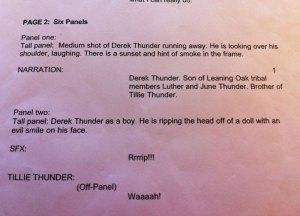 Page Two of Technoskin comic script